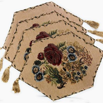 Tache 4 Piece Colorful Floral Country Rustic Morning Meadow Woven Table Runner/Placemats , 13x17