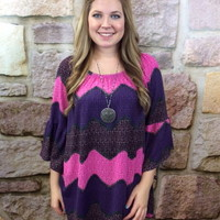 Pink/Purple Chevron Tunic (Sizes 12-18) - TUN089PK