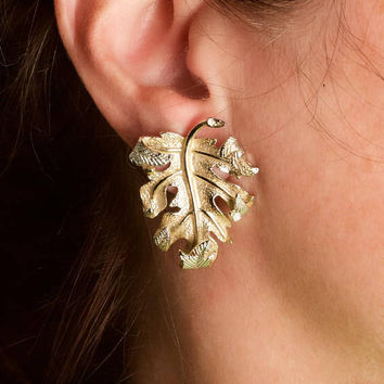 Vintage Sarah Coventry Leaf Silver and Gold Tone Earrings