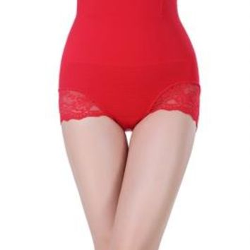 Sexy Red Women's Seamless High Waist Shapewear