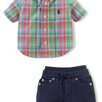Ralph Lauren Poplin Plaid Shirt & Knit Shorts (Baby Boys)