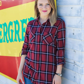 Hidden Talent Button Down Plaid Top: Red