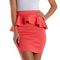 Coral Bodycon Peplum Mini Skirt by Charlotte Russe