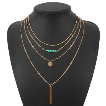 Turquoise crystal bead round bar charm gold chain necklace multi layer statement necklaces
