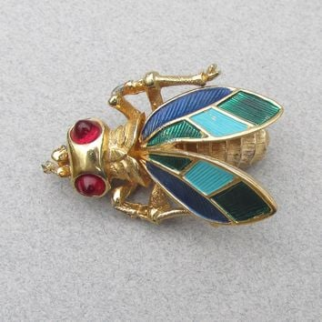 Signed BOUCHER Vintage Enamel Gold Tone FLY Pin