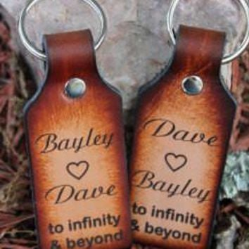 Handcrafted Leather Key Chain Set --to infinity and beyond--Engraved with Two Names Free--Gift Boxed