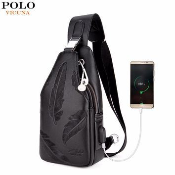 VICUNA POLO Double Pocket Feather Embossing USB Charging With Headphone Outlet Leather Men Messenger Bag Crossbody Bag Chest Bag