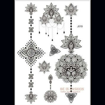 one piece Indian Arabic designs lace flash tribal black white henna tattoo paste fake tatoo sticker on body hand choker J019B