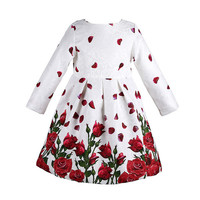 Baby Girl Dress Long Sleeve Rose Petals Flower Gilrs Clothes Kids Dresses Winter Designer Princess Dress Christmas Children Clothing 3-8Y