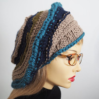 Womans knit hat - Slouchy beanie - Beige hat - Teal tam - Rasta hat - Dread hat - Slouchy beret - Crochet hat - Winter hat - Chunky knit hat