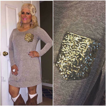 Taupe Dress w/ Sequin Pocket