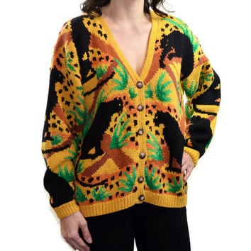 90s Vintage Cardigan Panther Safari Sweater Hand Knitted / Cardigan Bay