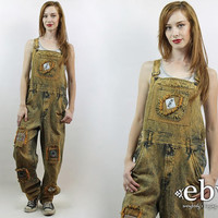 Vintage 90s Orange Acid Wash Denim Fringe Overalls S M Acid Wash Overalls Patchwork Overalls 90s Overalls Denim Overalls Denim Jumpsuit