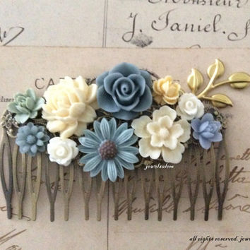 Blue Wedding Hair Accessories Blue Gray Ivory Cream Sage Green White Bridal Hair Comb Woodland Flowers Branch Gold Leaf Floral Headpiece WR