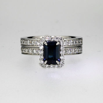 Platinum engagement ring set, emerald cut blue sapphire engagement ring, halo ring, diamond halo, uniuqe, sapphire solitaire, vintage, blue