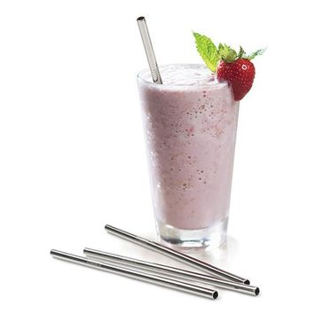 "REUSABLE STAINLESS STEEL FROZEN DRINK STRAWS 8 1/2"" (4 count)"