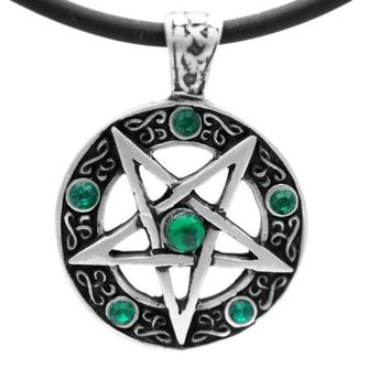 Pentagram Necklace Green Stones Pentacle Pendant Wicca Amulet Talisman Magic