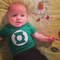 6 MONTH Justice League GREEN LANTERN Superhero Baby Onesuit