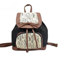 [grlhx120003]Retro Cute Lace Bowknot Backpack Bag