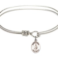 St. Eligius-7 1/4 inch Oval Eye Hook Bangle Bracelet with a St. Eligius charm.-Saint Eligius is the patron saint of Metalworkers. Memorial Day December 1st.-Metalworkers