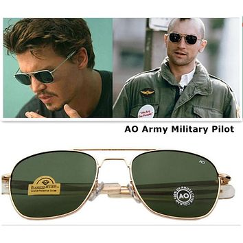 2016 Newest American Army MILITARY AO Brand Sunglasses Optical Glass Lens Metal Alloy Frame Sun Glasses Oculos De Sol Masculino