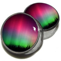 Aurora Borealis Plugs  1 Pair  Sizes 2g 0g 00g by PlainJanePlugs