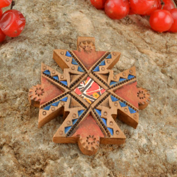 Beautiful handmade wooden cross pendant necklace made from pear wood unique gift