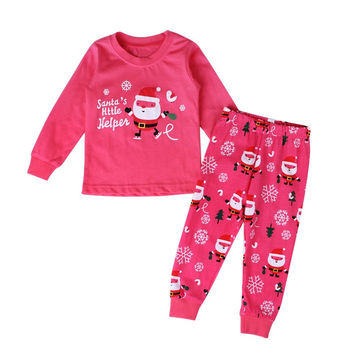 New 2016 Christmas Children Pajamas Nightwear Set Baby Girls Santa Snow Xmas Sleepwear Home Clothes For 2-7 Years Child L08