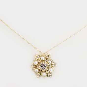 Pearl Crystal Pendant Gold Fill Necklace, Bridal Wedding Jewelry Gold