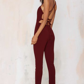 Raquel Cross-Back Jumpsuit - Wine