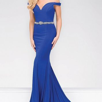 Jovani - Off the Shoulder Jersey Mermaid Prom Dress 49254
