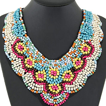 Multicolor Beaded Flower Statement Collar Necklace