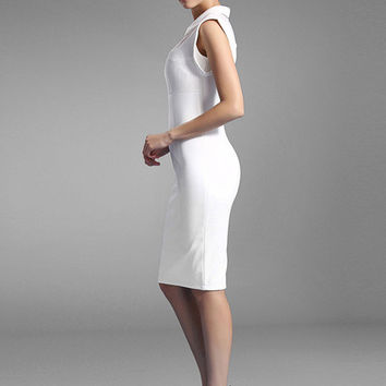 White Knee-Length Slim Fit Party Dress