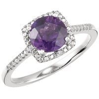 Sterling Silver Amethyst & .01 CTW Diamond Halo-Style Ring