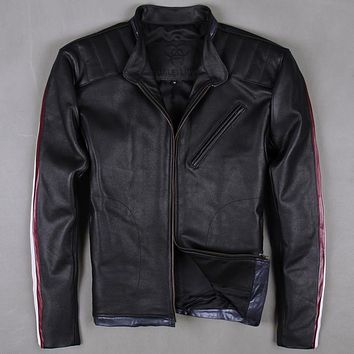 Factory 2016 New Harley style fashion Vintage cowskin genuine leather jacket stand collar slim fit motorcycle jackers M-XXXL