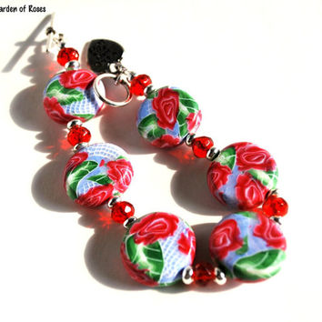 On Sale Red Rose Bracelet with Matching Rose Earrings, Handmade Jewelry Set, Handmade Beads