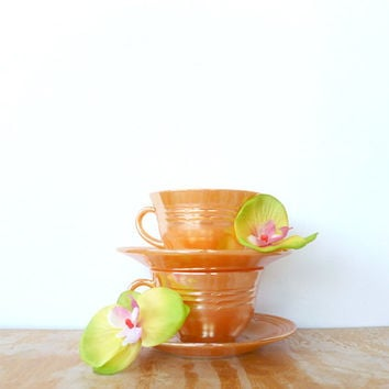 Fire King Peach Luster Cup and Saucer Set Three Bands Pattern Anchor Hocking Coffee Cup Tea Cup Mid Century Kitchen