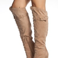 Taupe Faux Suede Lace Up Knee High Peep Toe Boots @ Cicihot Boots Catalog:women's winter boots,leather thigh high boots,black platform knee high boots,over the knee boots,Go Go boots,cowgirl boots,gladiator boots,womens dress boots,skirt boots.