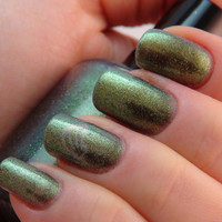 Pan - 15ml - olive/green duochrome nail polish by Indigo Bananas