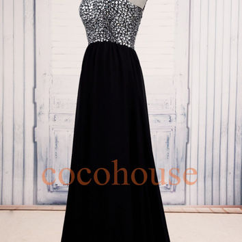 Black Crystals Long Bridesmaid Dresses,Prom Dresses, Elegant Evening Gowns, Formal Party Dresses, Homecoming Dress, Wedding Party Dresses