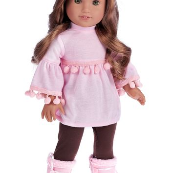 Sweet Pea - 3 Piece Doll Outfit for 18 inch American Girl Doll - Pink Top, Brown Leggings, Pink Winter Boots.