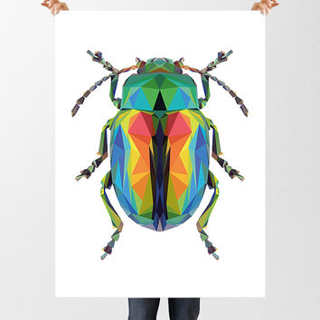 Low Poly Beetle Print, Downloadable File, Printable Geometric Beetle, Insect Art, Iridescent Beetle, Entomology Wall Decor, Beetle Bug Print
