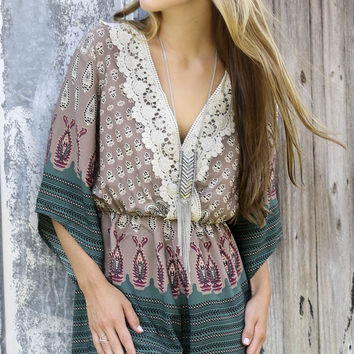 Good Vibes Only Mixed Print Kimono Romper With Crochet Detail & Keyhole Back