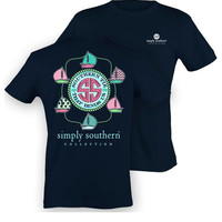 Simply Southern Happy Sailing Tee - Navy