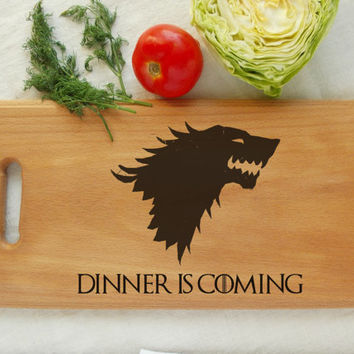 Dinner is Coming, Custom engraved wood cutting board, Stark, Birthday Gift, Housewarming board, Personalized Wedding, handmade, pyrography