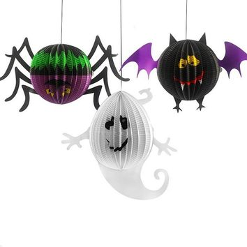 Foldable LED Paper Pumpkin Lantern Halloween Bat Spider Skull Outdoor Hanging Light Lamp Props Home Party Decorations