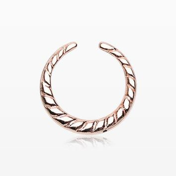 Rose Gold Lucia Textured Rope Steel Pincher Septum Ring