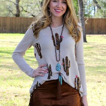 For A Legend Leopard Print Cactus Long Sleeve Knit Top in Tan