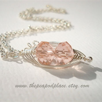 Pink Swarovski Necklace - Two peas in a pod necklace - Best Friend - Grandmother - Expectant mom - Bridesmaids - wire wrap jewelry