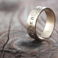 Rustic Gold Dust Ring with Word and Date Personalized Inspirational Chic Gift for Her Gift for Him Engraved Adjustable